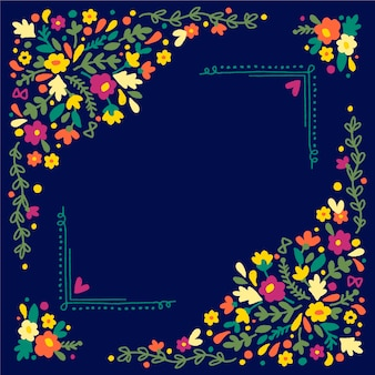 Spring frame with colourful flowers