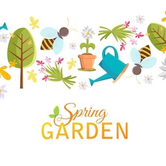 Плакат с весенним садом с изображениями дерева, горшка, пчелы, лейки, птичьего домика и многих других объектов на белом