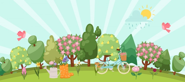 Spring garden easter concept with birds, blooming trees, grass, dandelions and daisies in gum boot and watering can, bike cartoon  illustration.