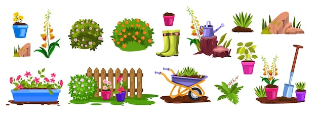 Spring garden equipment nature elements set with bloom bushes, flowerpots, fence, seedling, stone.
