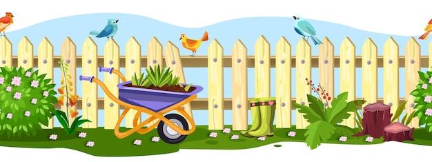鳥、花、茂み、手押し車、緑の草、ブーツとの春の庭の柵のシームレスな境界線。切り株、ピンクの花と夏の田舎の裏庭のピケットビュー。壊れた庭の柵の漫画のフレーム