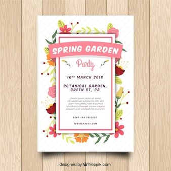 Spring garden party invitation in flat style