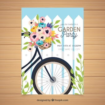 Spring garden party invitation in hand drawn style