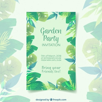 Spring garden party invitation in watercolor style