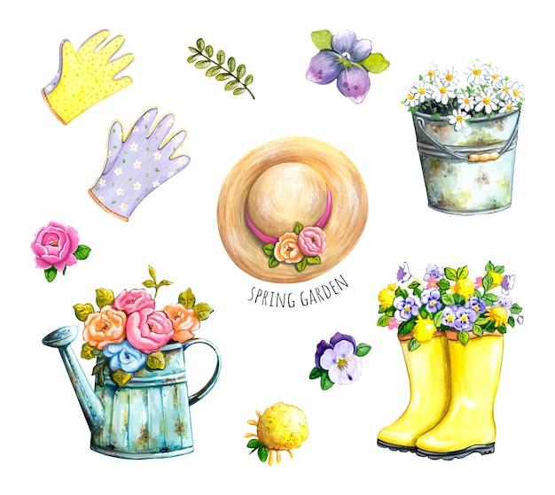 Spring garden set watercolor