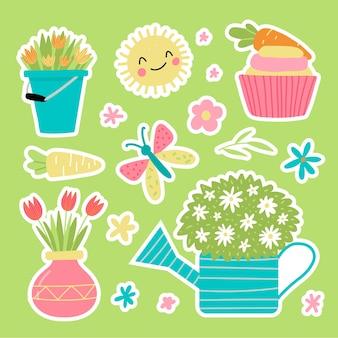 귀여운 손으로 그린 스타일의 봄 정원 스티커