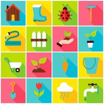Spring gardening colorful icons. vector illustration. nature set of flat rectangle items with long shadow.