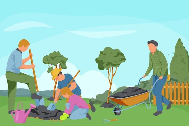 Composizione piatta per giardinaggio primaverile con personaggi senza volto di giardinieri con strumenti di scavo e paesaggio da giardino all'aperto
