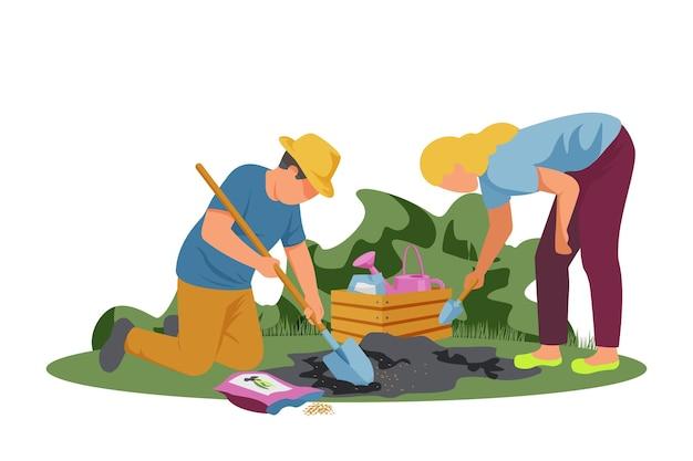 남자와 여자가 씨앗을 심는 봄 원예 평면 구성
