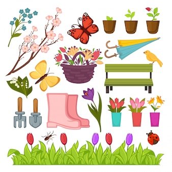Spring gardening flowers and planting tools  icons set