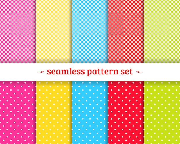 Spring geometric seamless patterns set vector