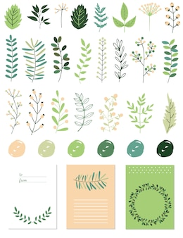 Spring graphic elements set with floral.