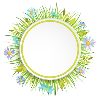 Spring grass frame with flowers for decoration.