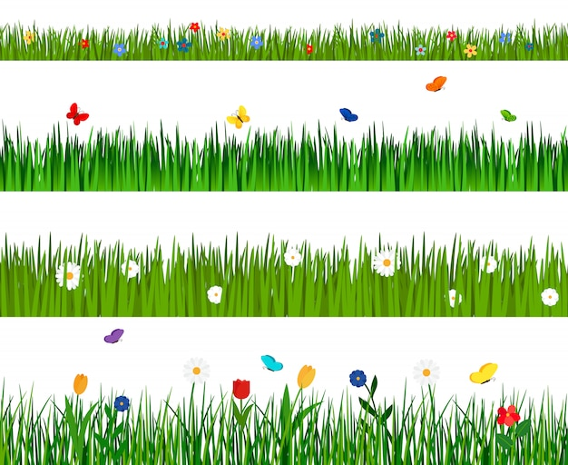 花と蝶で分離された春の緑の芝生と花水平シームレスパターン