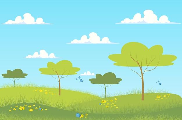 Весенний зеленый луг пейзаж в плоском мультяшном стиле