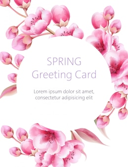Spring greeting card with watercolor sakura flowers.