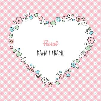 Spring hand drawn  heart frame