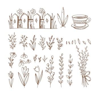Весна рисованной символы и объекты
