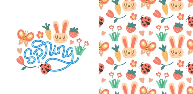 Spring hand lettering and seamless pattern
