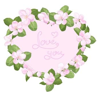 텍스트와 함께 사과 꽃의 아름다운 분홍색 꽃과 함께 봄 심장 프레임 당신을 사랑합니다