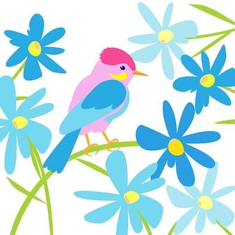 Весенняя иллюстрация с птицей в синих цветах птица сидит на цветке летняя иллюстрация