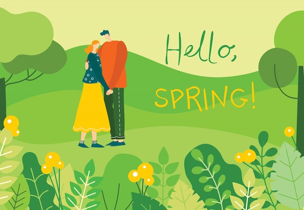 Spring illustration with couple in love holding hands in the forest with lanscape in the flat design