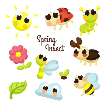 Spring insect illustration character set