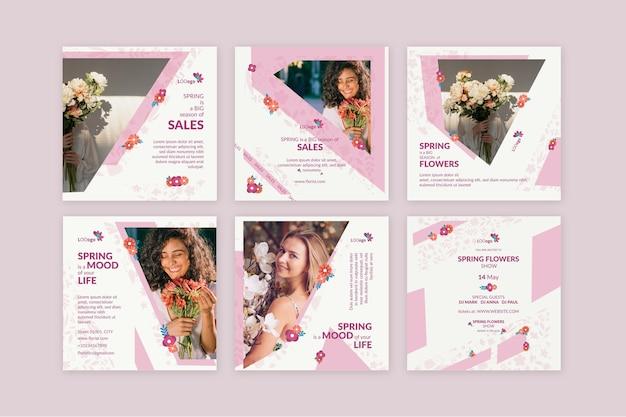 봄 인스 타 그램 포스트 컬렉션 플랫 디자인