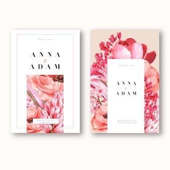 花のカエデと葉の春の招待状。鮮度植物、感謝カード、母の日の花
