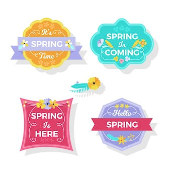 Spring is coming flat badge design collection
