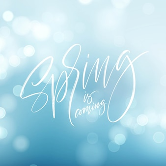 Spring is coming. hand drawn calligraphy and brush pen lettering.  illustration