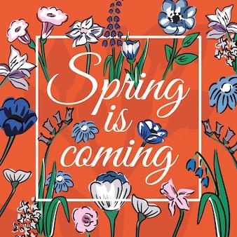 프레임이있는 꽃 bakground에 봄이오고있다.