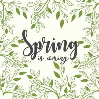 봄은 밝은 녹색 배경에 나뭇 가지 잎 글자오고있다