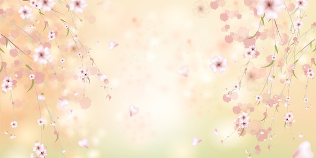 Spring is coming. sakura petals falling down. beautiful  pink background with branch of cherry blossom. watercolor illustration of sakura.