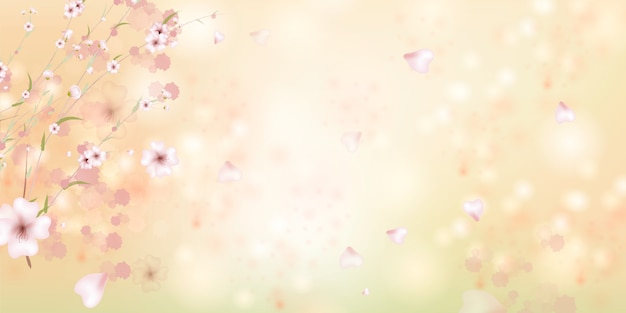 Spring is coming. sakura petals falling down. beautiful  pink background with branch of cherry blossom.