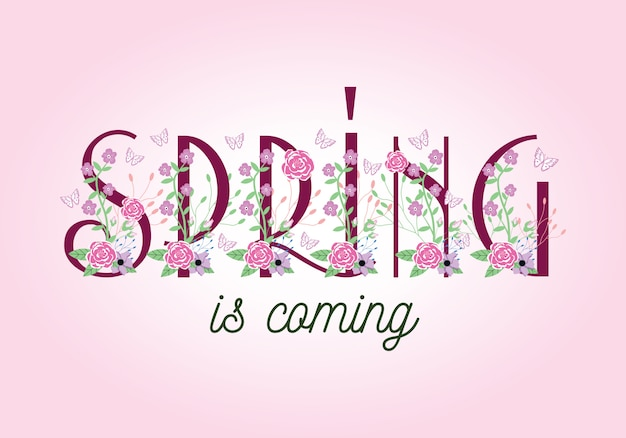 Spring is coming -  typography wording lettering