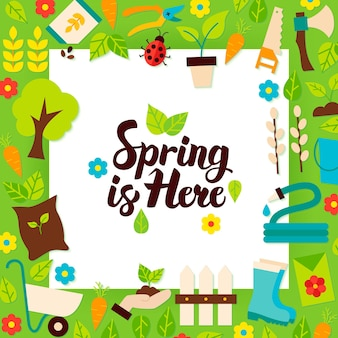 Spring is here paper template. vector illustration flat style nature garden poster with lettering.
