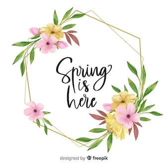 Весна здесь цитата цветочная рамка Бесплатные векторы