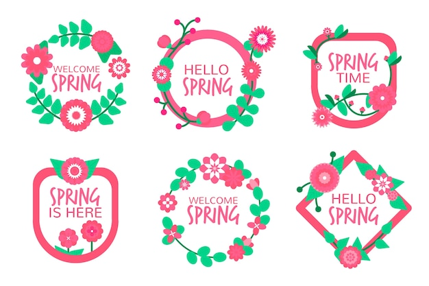 Spring label/badge collection in flat design