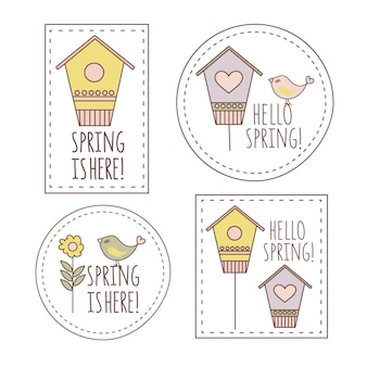Spring labels cartoon vector illustration business complete