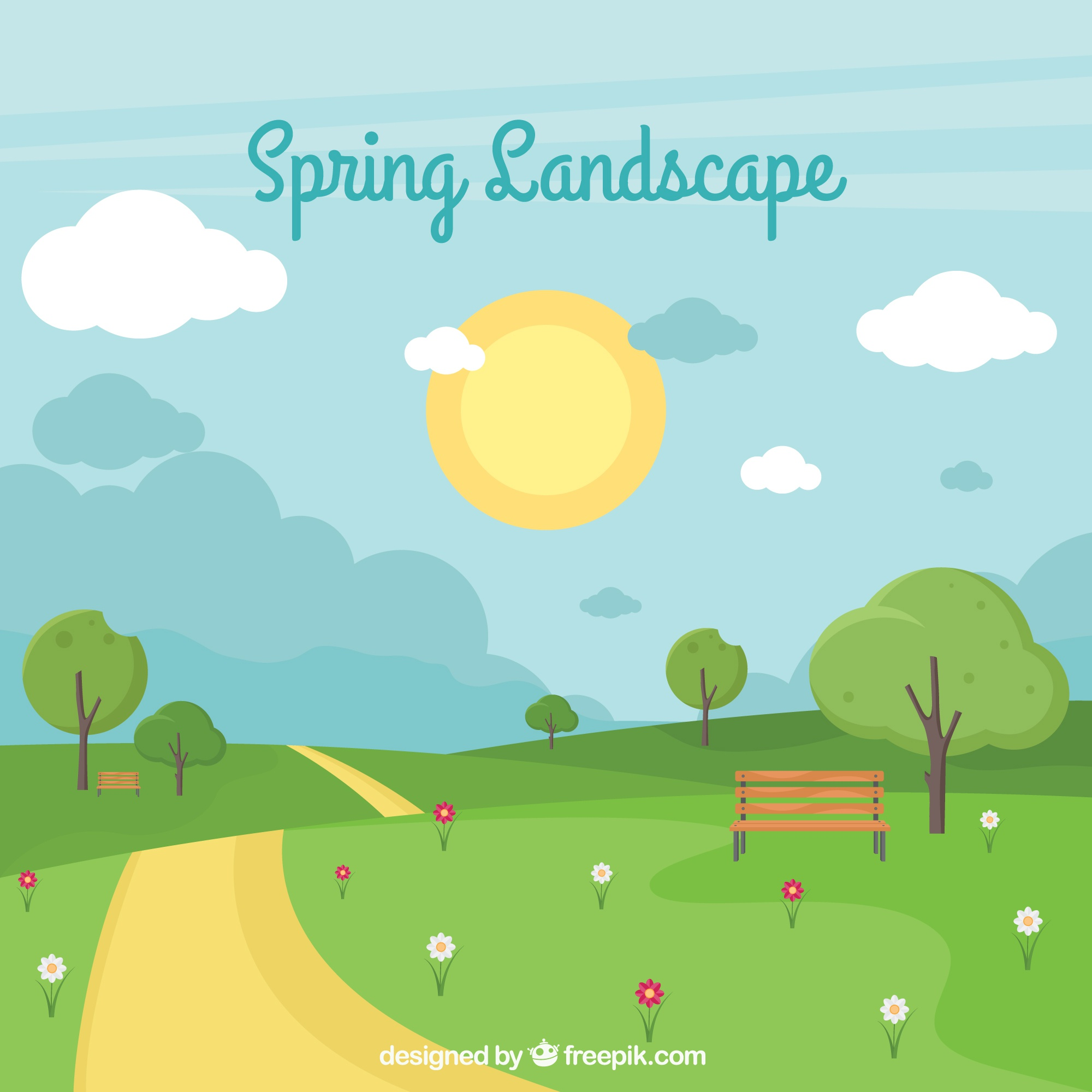 Spring landscape background in flat style