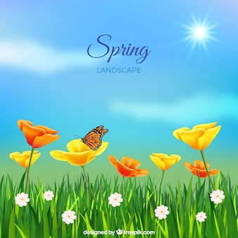 Spring landscape background in realistic style