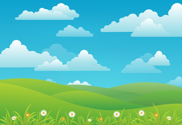 Spring landscape background with clouds, flowers, and green meadow