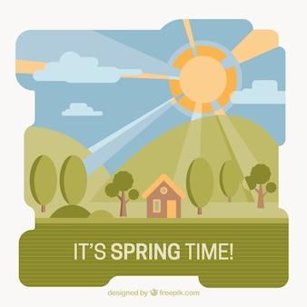 평면 디자인에 작은 집으로 봄 풍경 배경