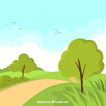 Spring landscape background with path between trees