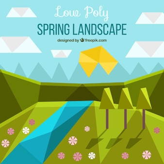 Spring landscape background with river in polygonal style