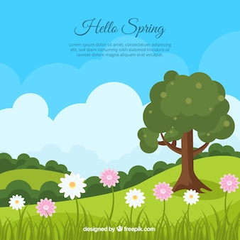 Spring landscape background with tree and daisies