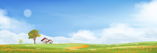 Spring landscape in countryside with farmhous green meadow on hills with blue sky.