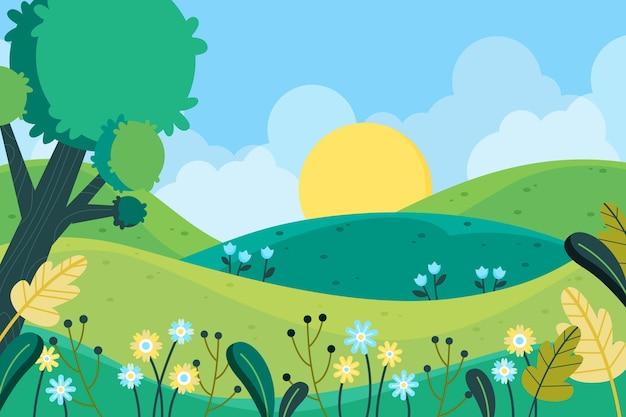 Весенний пейзаж в плоском дизайне