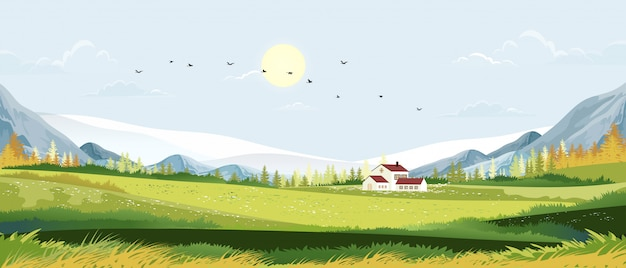 Spring landscape in sunny day village with meadow on hills with blue sky, panoramic countryside of green field with farmhouse, mountains and grass flowers